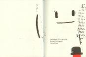 """Le nez - Olivier Douzou. Plan 1. Gros plan sur la scène: Le héros de l'histoire se retrouve nez à nez avec le grand """"bougeoir"""" - entendez mouchoir. La rencontre annonce le dénouement de l'histoire d'Olivier Douzou. La mise en scène est alors remarquablement organisée sur trois pages, étirant le temps du récit et de la lecture. Seuls quelques traits noirs de gravure révèlent d'abord la présence du """"bougeoir"""", immense. La page blanche lui donne corps pour l'occasion. L'effet est saisissant pour le lecteur qui peut sans peine se laisser porter par la magie de l'image, fasciné par l'incroyable apparition. Puis le lecteur reprend de la distance pour assister plus loin à l'étreinte finale entre le petit nez rouge et le """"bougeoir"""", encouragé en cela par l'image de la page suivante..."""